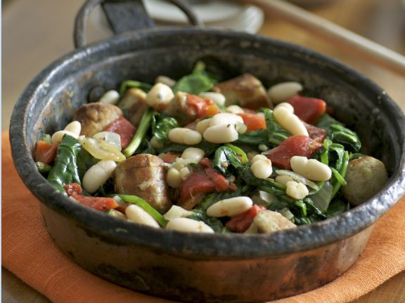 Sausage and Bean Pan with Spinach