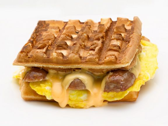 Sausage, Egg, and Cheese Waffle Sandwiches