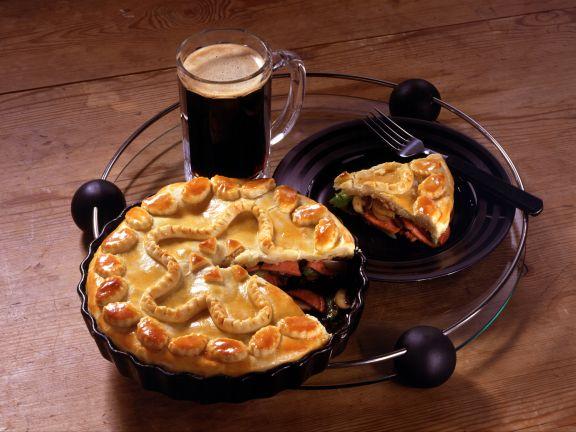 Sausage Pie with Celery and Mushrooms