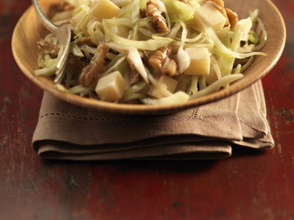 Sauteed Cabbage with Cheese and Nuts