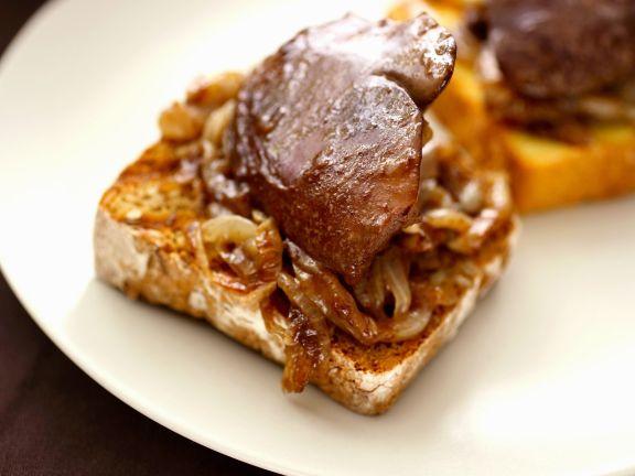 Sautéed Turkey Liver and Onions on Toast