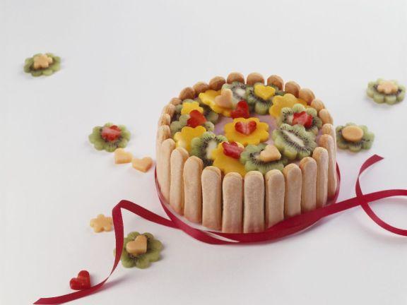 Savoiardi Sponge Fingers Cake with Fruit