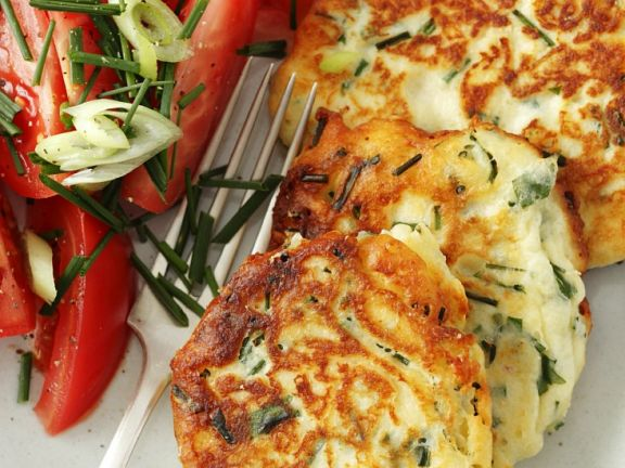 Savory Ricotta Pancakes with Tomato Salad