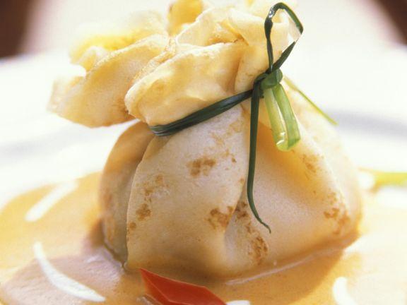 Savory Vegetable Crêpe Bundles with Wine Sauce