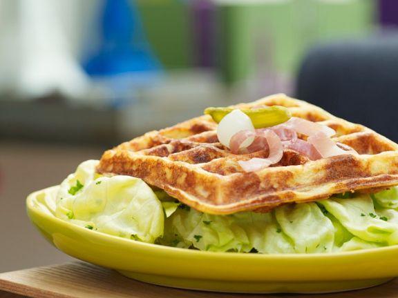 Savory Waffles with Green Salad
