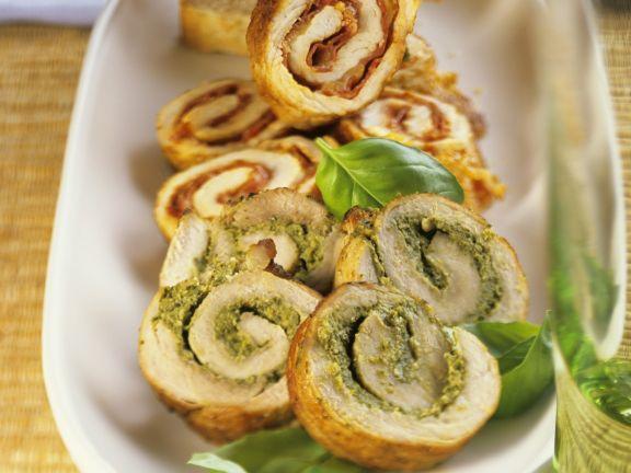 Schnitzel Roll-ups with Pesto Or Spicy Salami