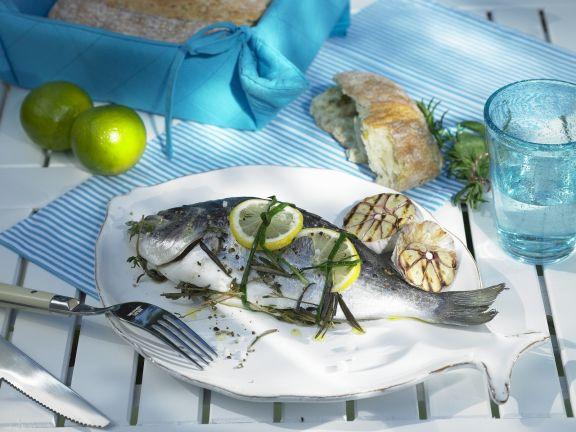Sea Bream with Garlic, Lemon and Herbs