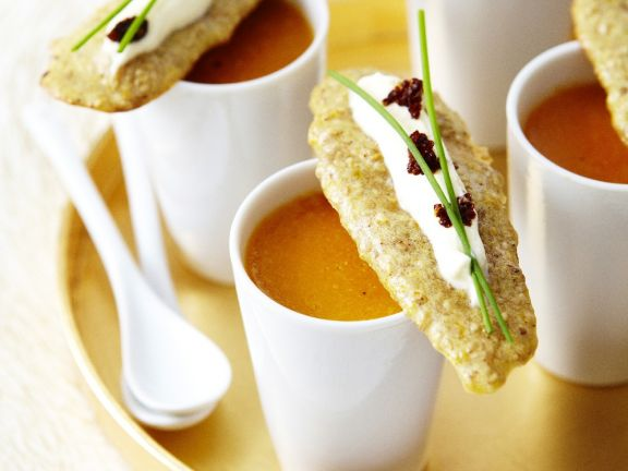 Seafood Bisque with Sesame Crackers