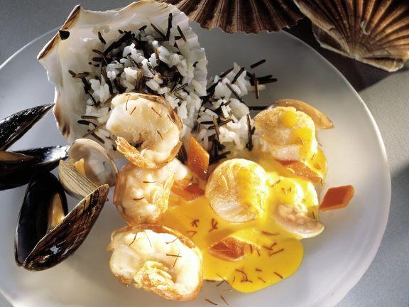 Seafood with Saffron Sauce