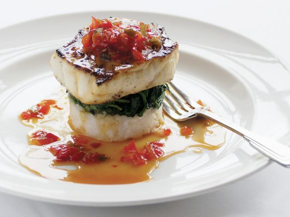 Seared Sea Bass with Wilted Spinach and Red Pepper Sauce