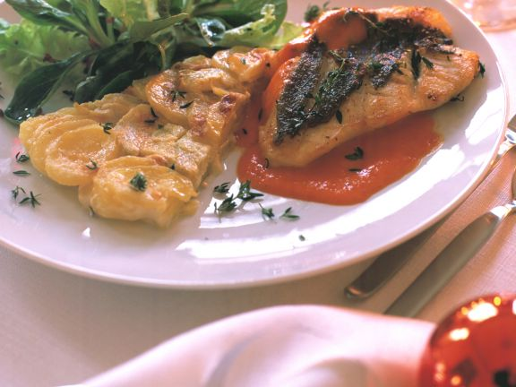 Seared Tilapia with Red Pepper Sauce and Potato-artichoke Gratin