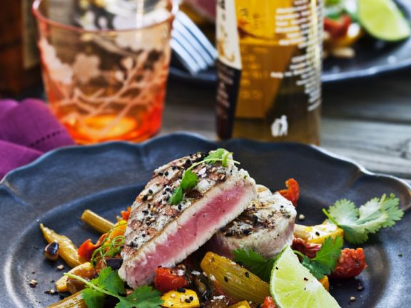 Seared Fish Steak with Salad