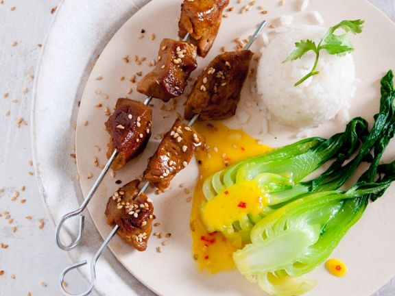 Seitan and Tofu Skewers with Coconut Sauce and Bok Choy