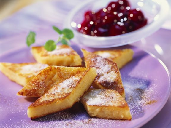 Semolina Slices with Cherry Compote