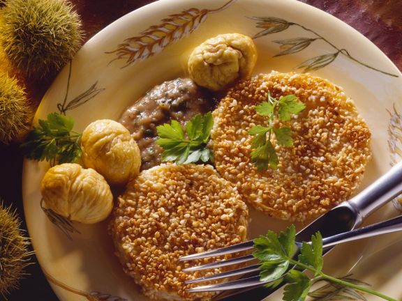 Sesame-Crusted Celery Slices with Chestnut Cream