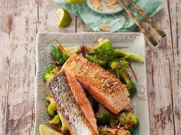 Sesame Crusted Salmon with Broccoli