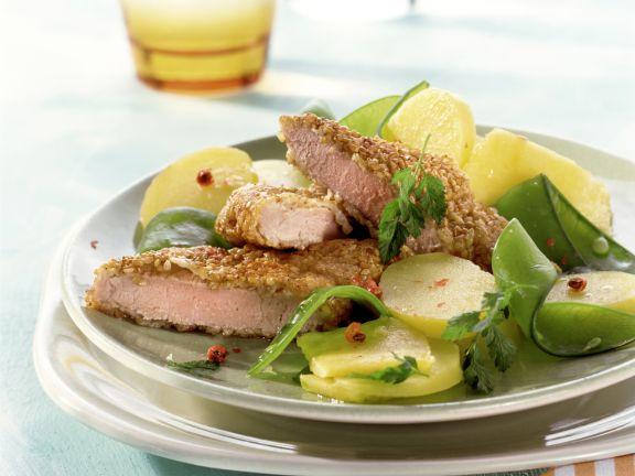 Sesame Pork Cutlets with Potato Pineapple Salad
