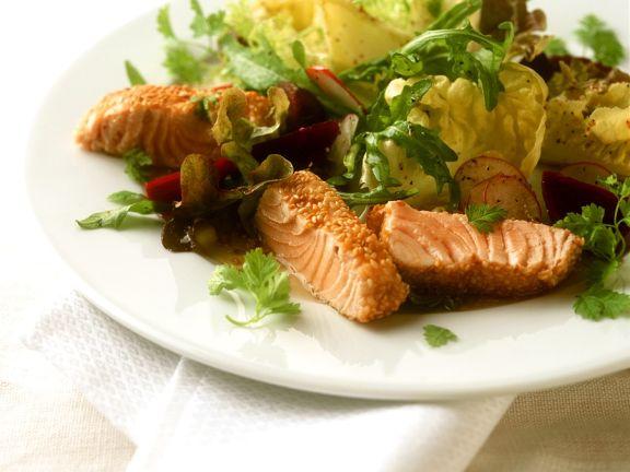 Sesame Salmon with Salad