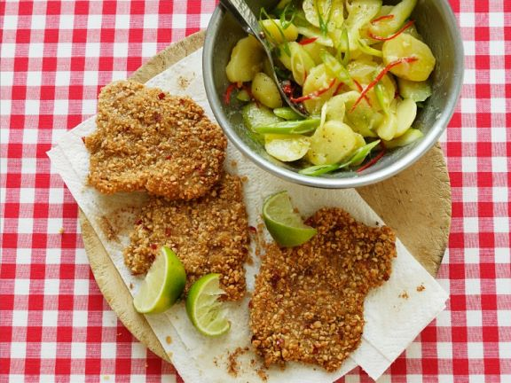 Sesame Veal Cutlet with Spicy Potato Salad