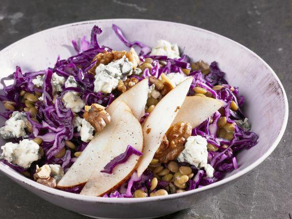 Shredded Red Cabbage and Lentil Salad