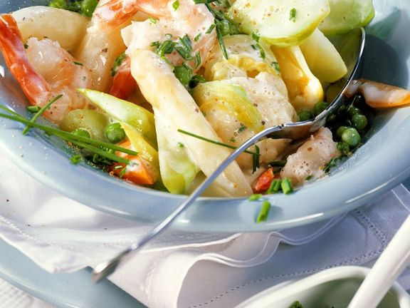 Shrimp and Vegetables in Cream Sauce