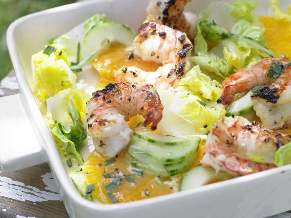 Shrimp on Cucumber and Orange Salad