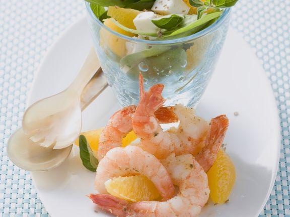 Shrimp Salad with Oranges, Spinach and Feta