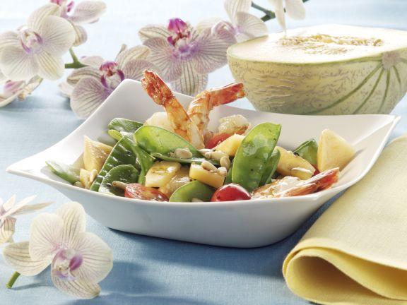 Shrimp Salad with Snow Peas and Melon