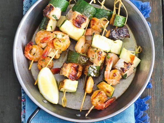 Shrimp, Salmon and Zucchini Skewers