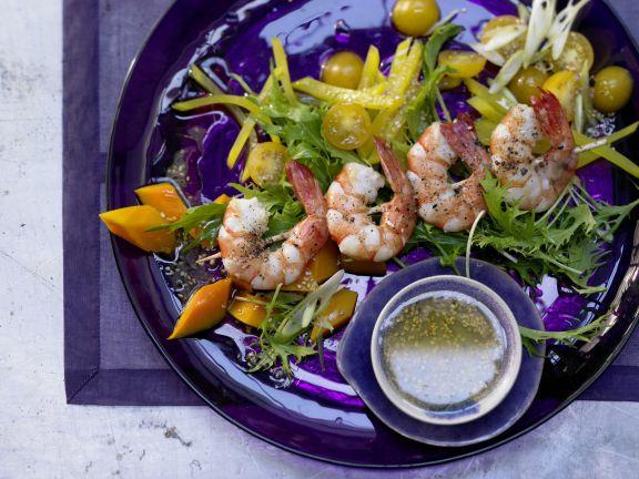 Shrimp Skewers and Salad