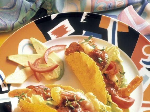 Shrimp Tacos with Tomato Salsa and Avocado