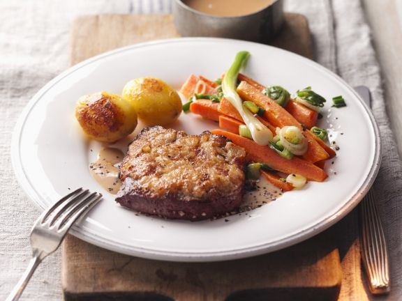 Sirloin Steaks with Mustard Crust, Vegetables and Potatoes