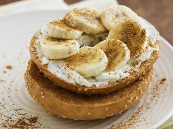 Sliced Banana Breakfast Bagel