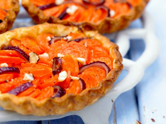 Sliced Carrot and Red Onion Tatin