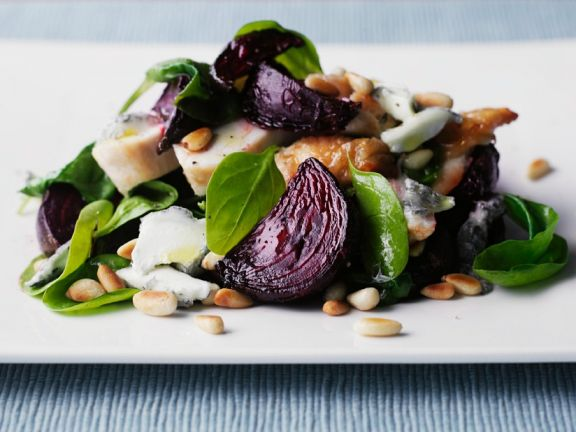 Sliced Chicken and Beets with Salad Leaves