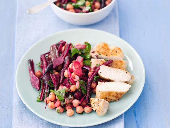 Sliced Chicken with Bean and Beets