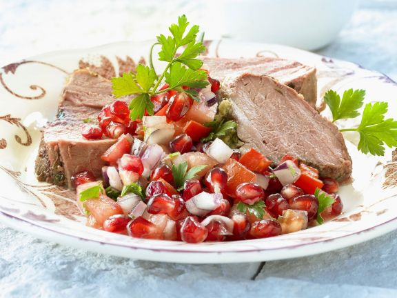 Sliced Lamb with Fruit Salad