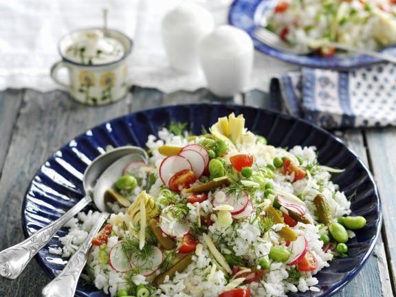 Sliced Radish with Rice and Favas