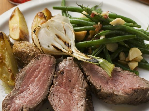 Sliced Steak with Potatoes and Beans