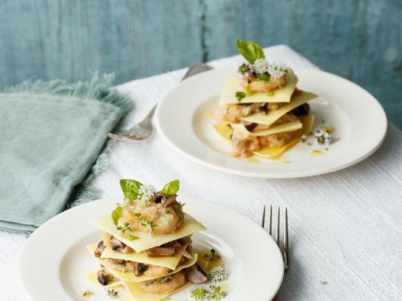 Small Mushroom Lasagna Towers