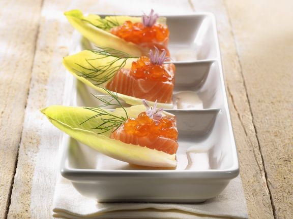 Smoked salmon and caviar canapes on belgian endive recipe for Canape with caviar