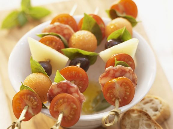 Snack Skewers with Tomatoes, Cheese, Salami and Melon