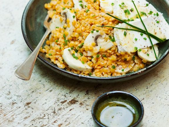 Soft Cheese with Orange Lentils
