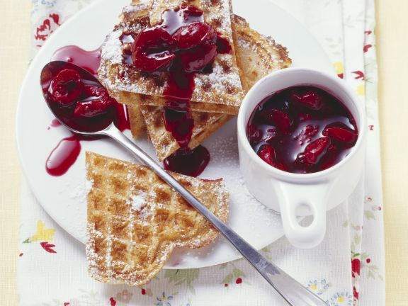 Sour Cream Waffles with Cherry Sauce
