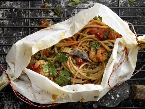Spaghetti and Prawn Parcels