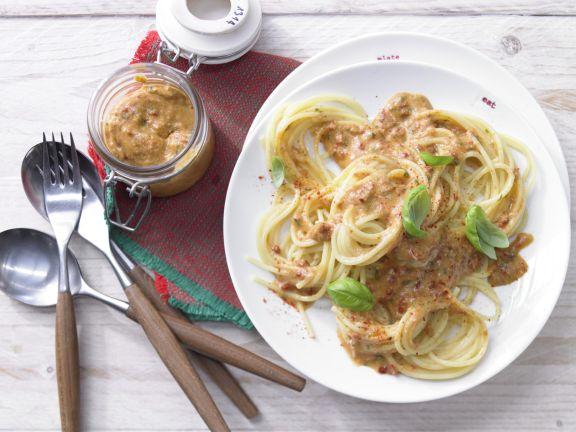Spaghetti and Red Pesto
