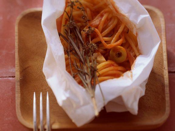 Spaghetti En Papillote