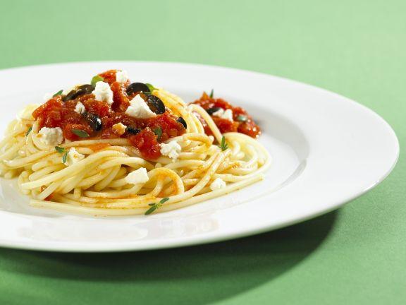 Spaghetti with Tomato Olive Sauce and Feta