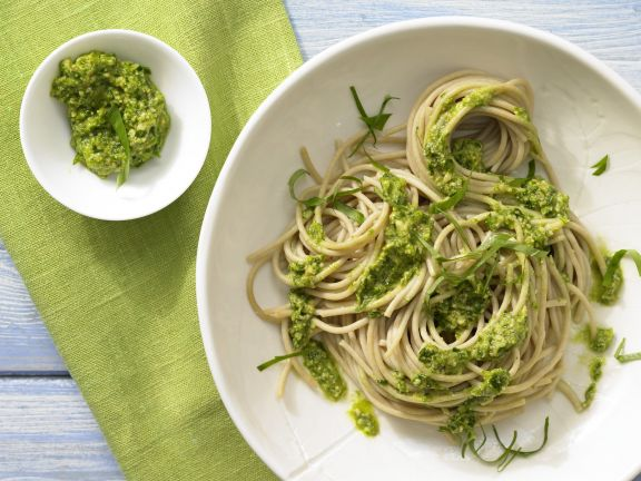 Spaghetti with Wild Garlic and Almond Pesto