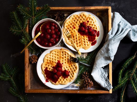 Spelt Waffles and Spiced Cherry Compote